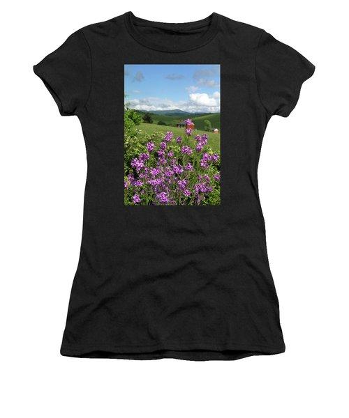 Landscape With Purple Flowers Women's T-Shirt