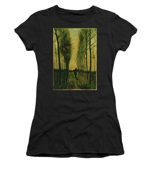 Women's T-Shirt featuring the painting Lane Of Poplars At Sunset by Van Gogh