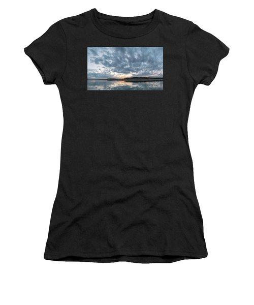 Large Panorama Of Storm Clouds Reflecting On Large Lake At Sunse Women's T-Shirt