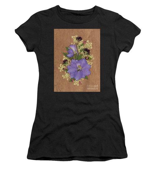 Larkspur And Queen-ann's-lace Pressed Flower Arrangement Women's T-Shirt