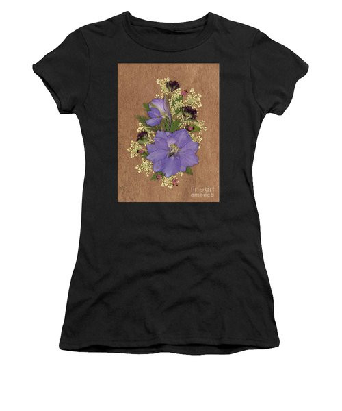 Larkspur And Queen-ann's-lace Pressed Flower Arrangement Women's T-Shirt