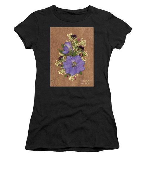 Larkspur And Queen-ann's-lace Pressed Flower Arrangement Women's T-Shirt (Athletic Fit)