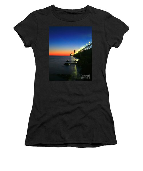 Last Light Grand Haven Michigan Women's T-Shirt (Athletic Fit)