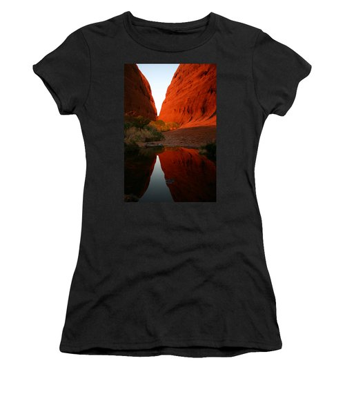 Women's T-Shirt (Athletic Fit) featuring the photograph Late Afternoon Light And Reflections At Kata Tjuta In The Northern Territory by Keiran Lusk