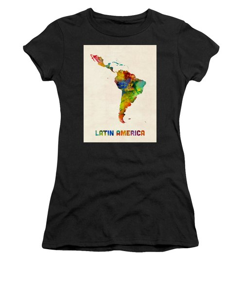 Latin America Watercolor Map Women's T-Shirt (Athletic Fit)