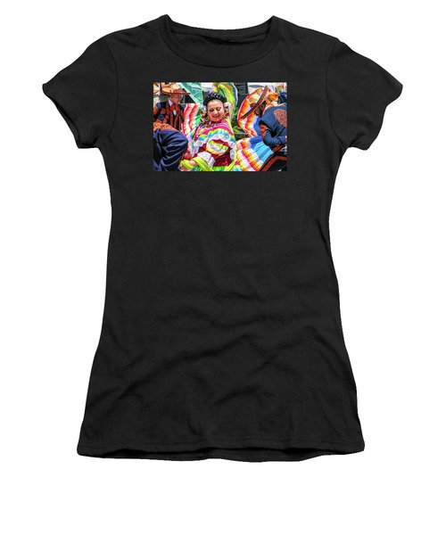 Women's T-Shirt (Athletic Fit) featuring the photograph Latino Street Festival Dancers by Robert Bellomy