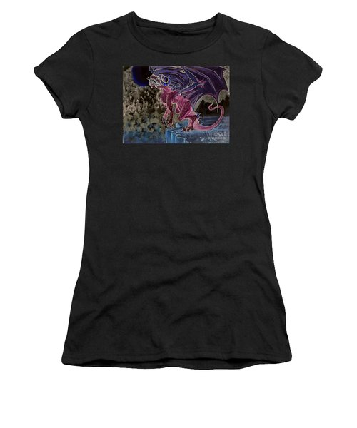 Women's T-Shirt featuring the mixed media Leaping Dragon 2 by Reed Novotny