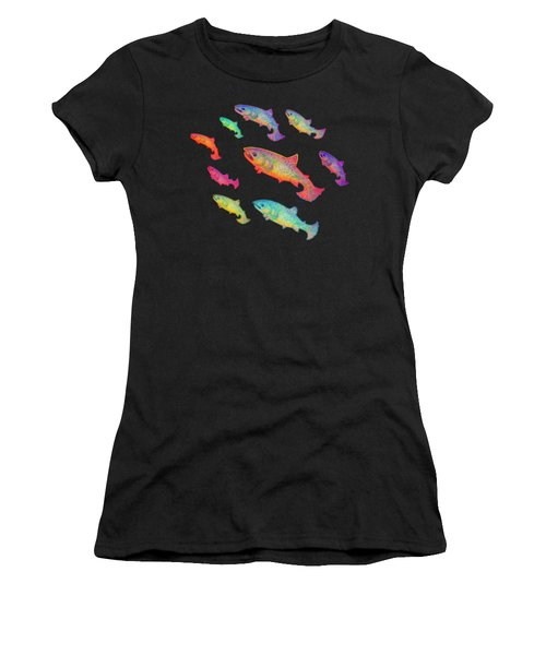 Leaping Salmon Design Women's T-Shirt (Athletic Fit)