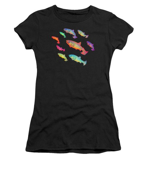 Leaping Salmon Shirt Image Women's T-Shirt (Athletic Fit)
