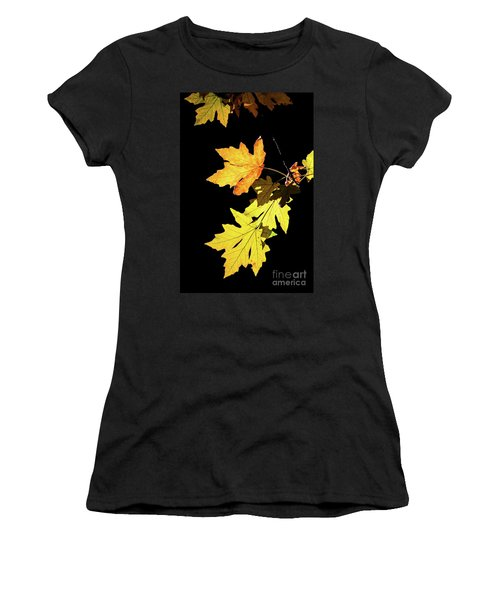 Leaves On Black Women's T-Shirt (Athletic Fit)