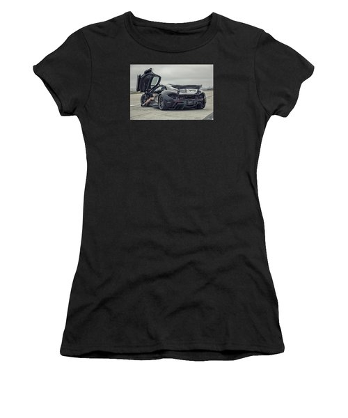 Women's T-Shirt featuring the photograph #mclaren #mso #p1 #wheels And #heels by ItzKirb Photography