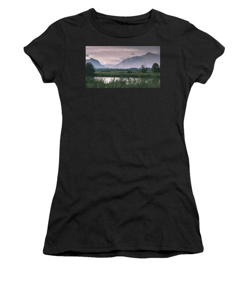 Leisure Boat On River Adda In Northern Italy, Close To Lake Como - Reflection Of Italian Alps Women's T-Shirt