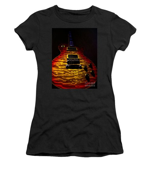 Women's T-Shirt featuring the digital art Guitar Custom Quilt Top Spotlight Series by Guitar Wacky