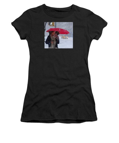 L Esprit De New York - Winter In New York Women's T-Shirt (Junior Cut) by Miriam Danar