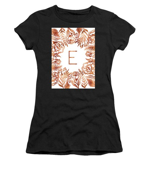 Letter E - Rose Gold Glitter Flowers Women's T-Shirt (Athletic Fit)