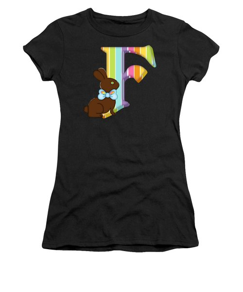 Letter F Chocolate Easter Bunny Women's T-Shirt