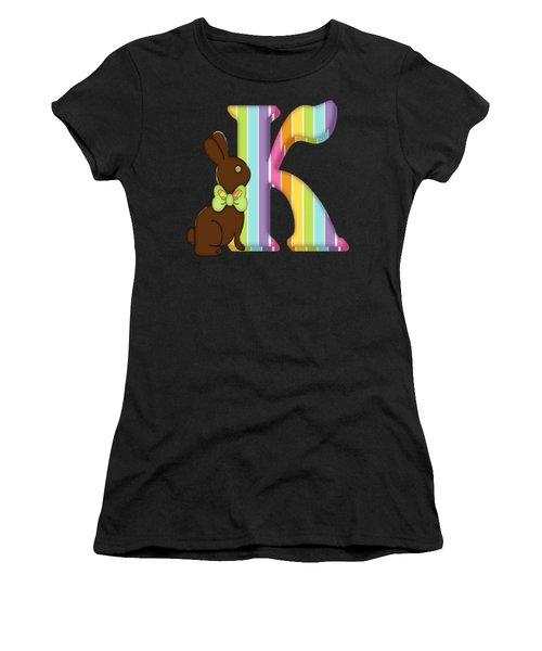 Letter K Chocolate Easter Bunny Women's T-Shirt