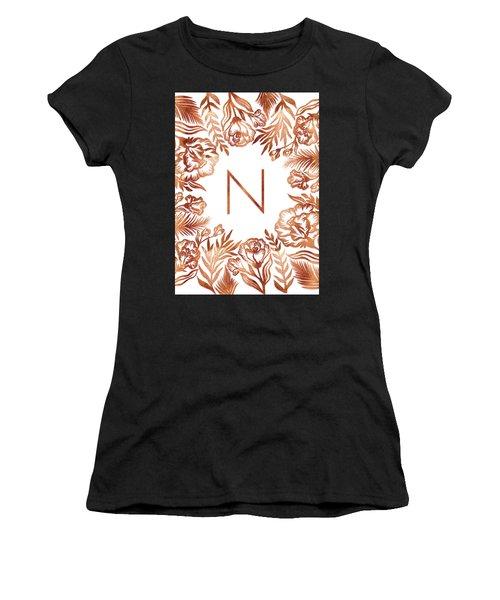 Letter N - Rose Gold Glitter Flowers Women's T-Shirt