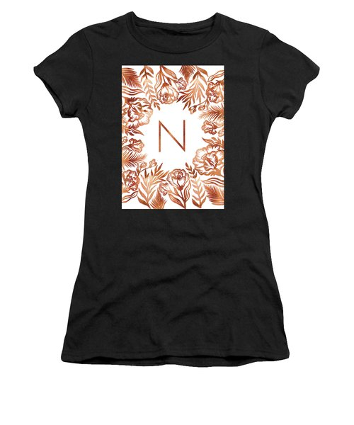 Letter N - Rose Gold Glitter Flowers Women's T-Shirt (Athletic Fit)