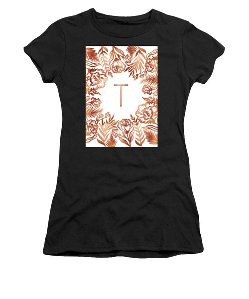 Letter T - Rose Gold Glitter Flowers Women's T-Shirt (Athletic Fit)