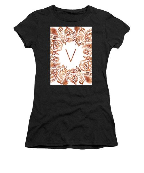 Letter V - Rose Gold Glitter Flowers Women's T-Shirt