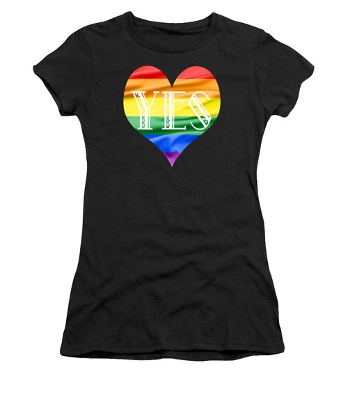 Lgbt Heart With A Big Fat Yes Women's T-Shirt (Athletic Fit)