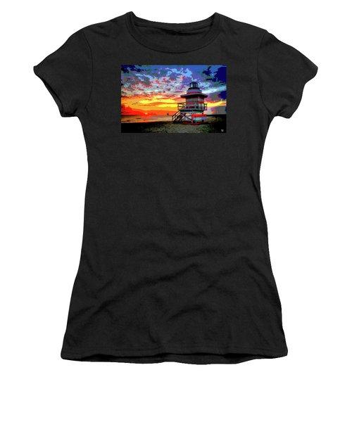 Lifeguard Tower At Miami South Beach, Florida Women's T-Shirt (Junior Cut) by Charles Shoup