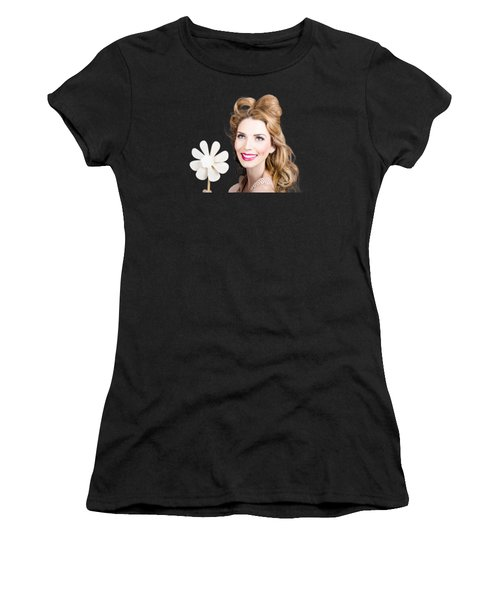 Light Brunette Pin-up Girl With Toy Wind Turbine Women's T-Shirt