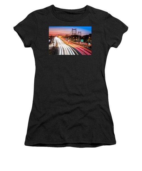 Light Trails On I-278 Near Triboro Bridge Women's T-Shirt