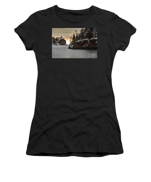 Women's T-Shirt (Junior Cut) featuring the photograph Lighthouse And Island At Dawn by Larry Ricker