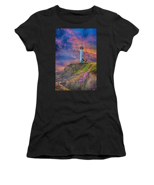 Lighthouse At Pigeon Point Women's T-Shirt (Athletic Fit)