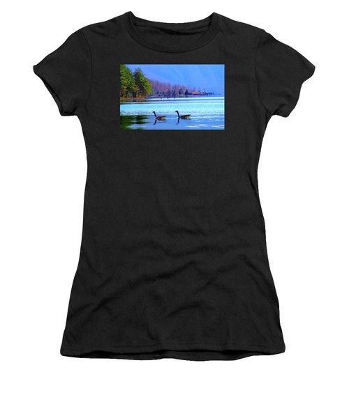 Lighthouse Geese, Smith Mountain Lake Women's T-Shirt