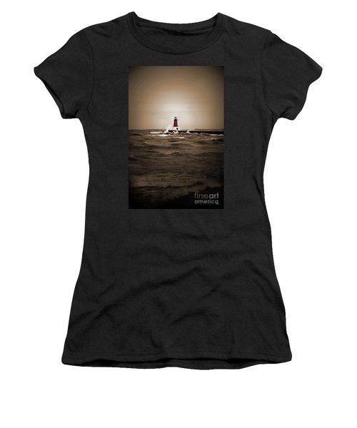 Lighthouse Glow Sepia Spot Color Women's T-Shirt (Athletic Fit)