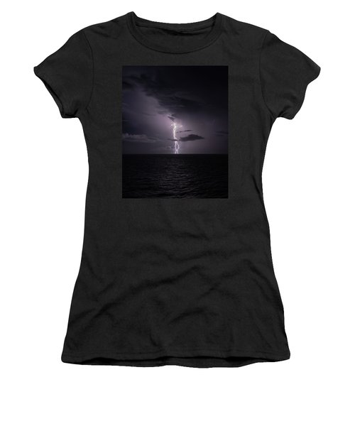 Women's T-Shirt featuring the photograph Lightning At Sea I by William Dickman