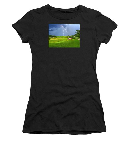 Lightning Storm Over Jenne Farm Women's T-Shirt (Athletic Fit)