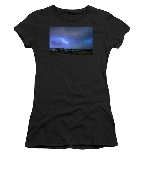 Women's T-Shirt (Athletic Fit) featuring the photograph Lightning Striking Over Boulder Reservoir by James BO Insogna