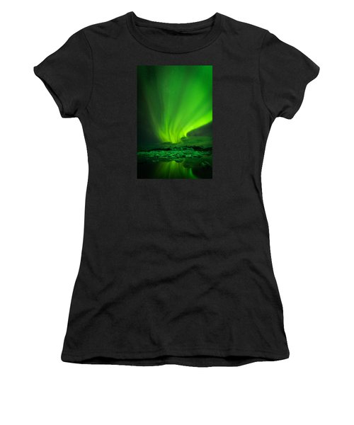 Lights Over Jokulsarlon Women's T-Shirt (Athletic Fit)