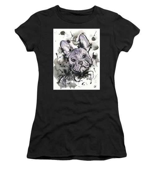 Women's T-Shirt (Athletic Fit) featuring the painting Lilac Frenchie by Zaira Dzhaubaeva