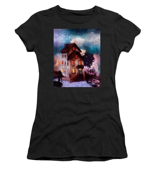 Women's T-Shirt (Junior Cut) featuring the painting Lilac Hill by Mo T