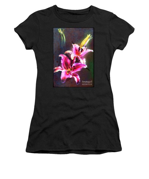 Lilies At Night Women's T-Shirt (Athletic Fit)
