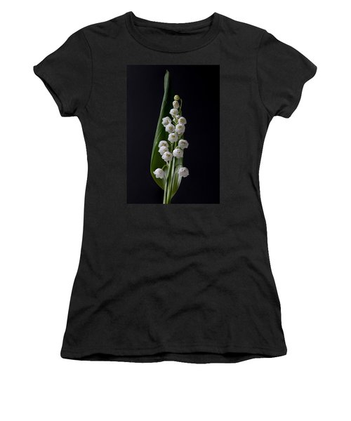Lily Of The Valley On Black Women's T-Shirt