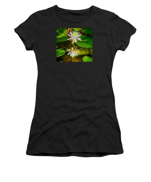 Women's T-Shirt (Junior Cut) featuring the photograph Lily Reflection by Jerry Cahill