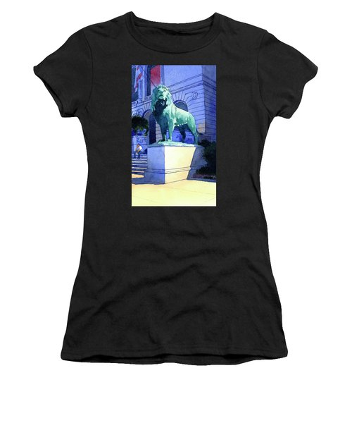 Lion At The Art Institue Of Chicago Women's T-Shirt (Athletic Fit)