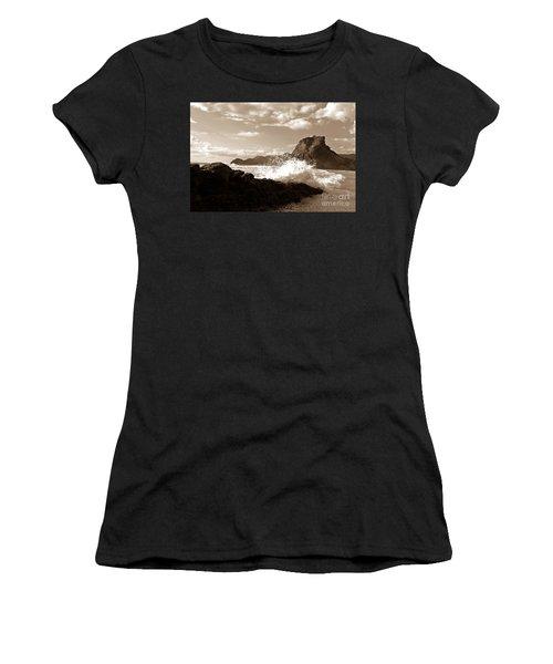 Women's T-Shirt (Junior Cut) featuring the photograph Lion Rock On Piha Beach, New Zealand by Yurix Sardinelly