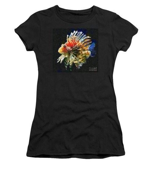 Women's T-Shirt (Junior Cut) featuring the painting Lionfish by Dragica  Micki Fortuna