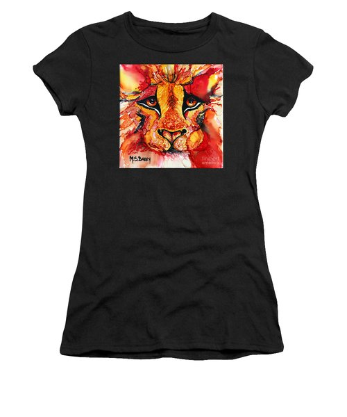 Lion's Head  Red Women's T-Shirt (Athletic Fit)