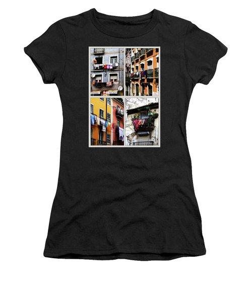 Women's T-Shirt (Junior Cut) featuring the photograph Lisbon Laundry by Lorraine Devon Wilke