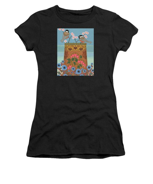 Women's T-Shirt (Athletic Fit) featuring the painting Little Bird by Chholing Taha