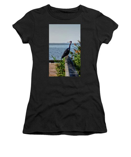 Women's T-Shirt (Athletic Fit) featuring the photograph Little Blue Heron by Lois Bryan
