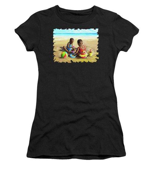 Little Girls At The Beach Women's T-Shirt